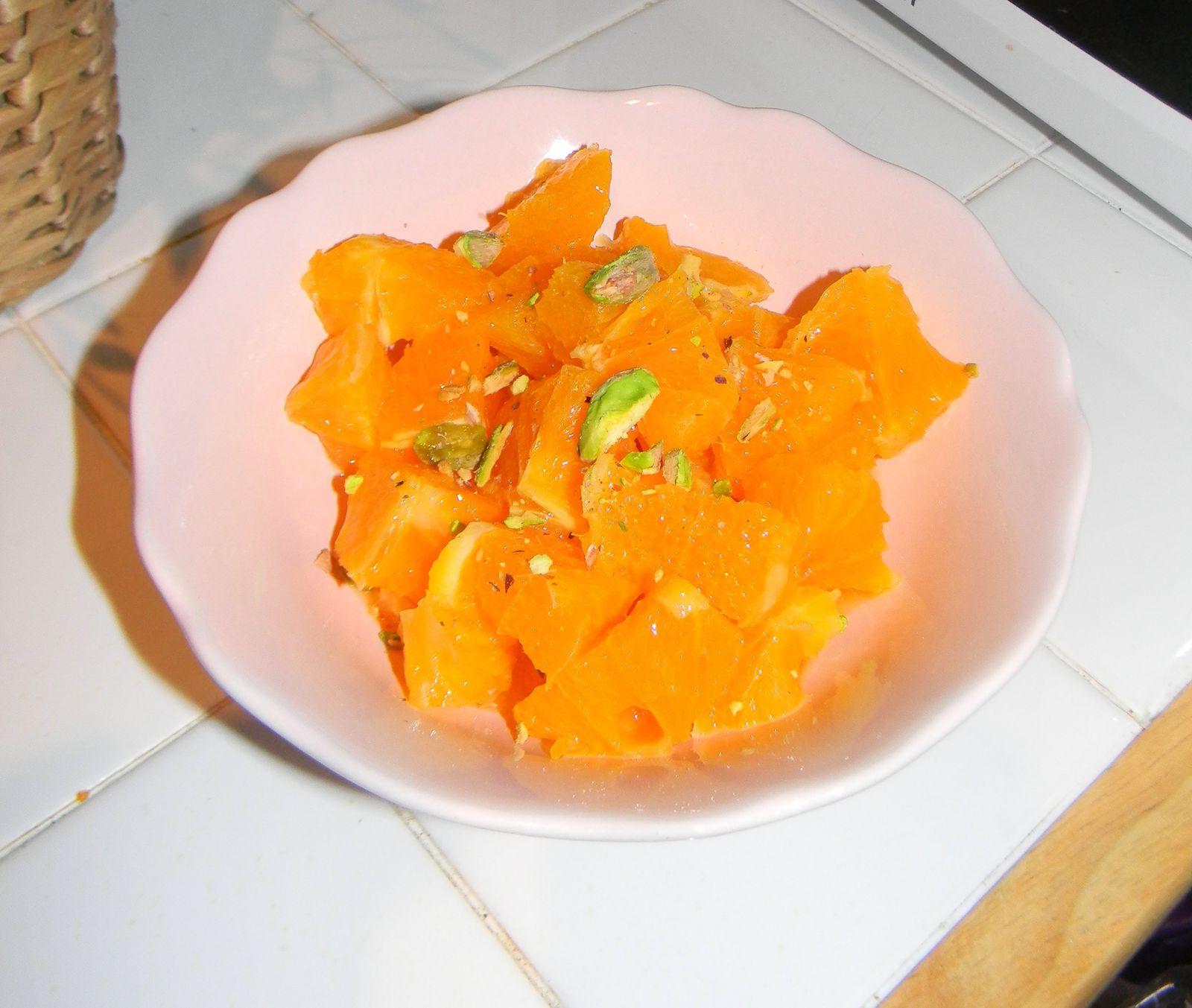 Salade d'orange à la fleur d'oranger et pistache