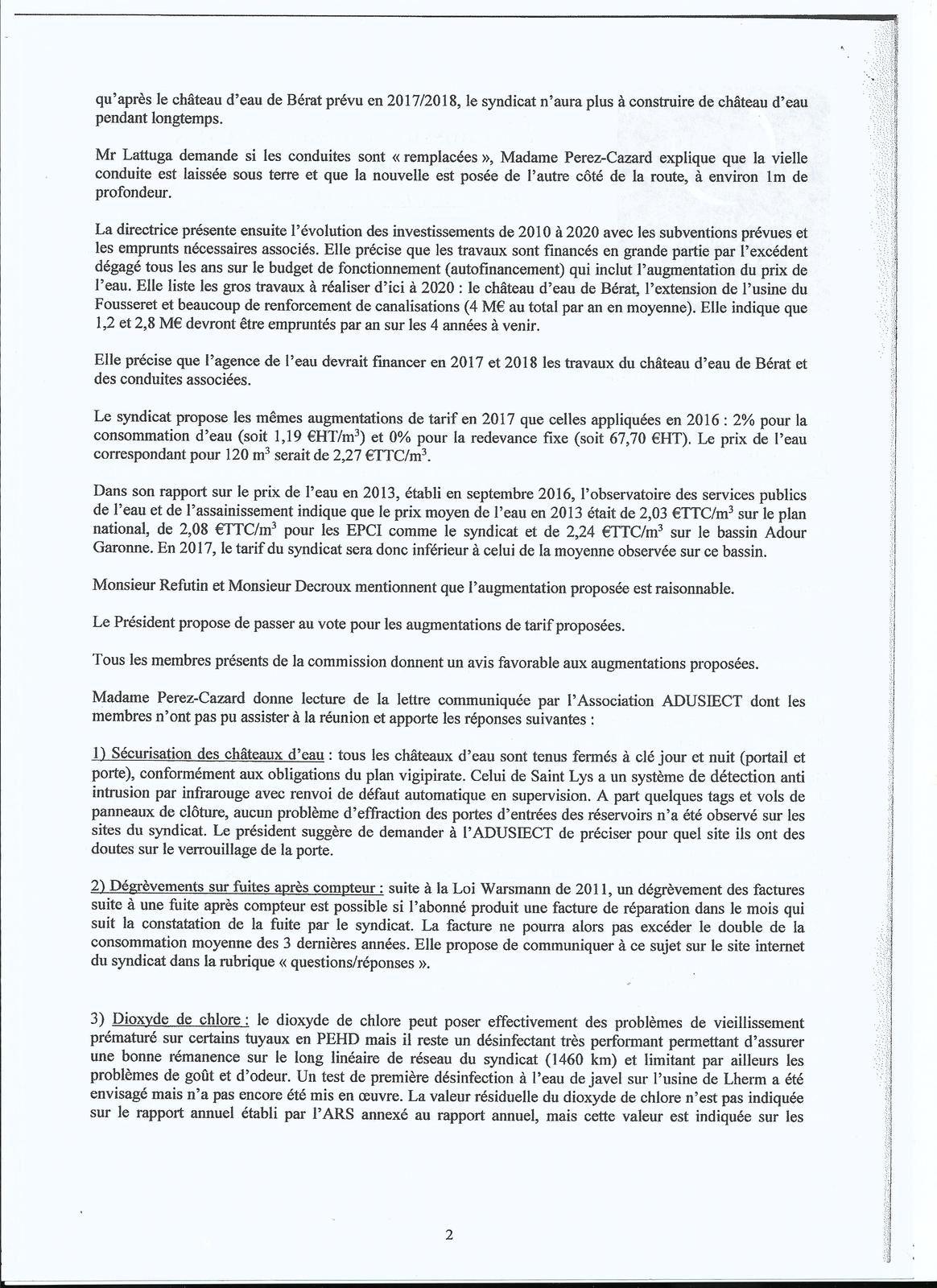 Commision du syndicat des eaux du 17 novembre 2016 : questions/réponses