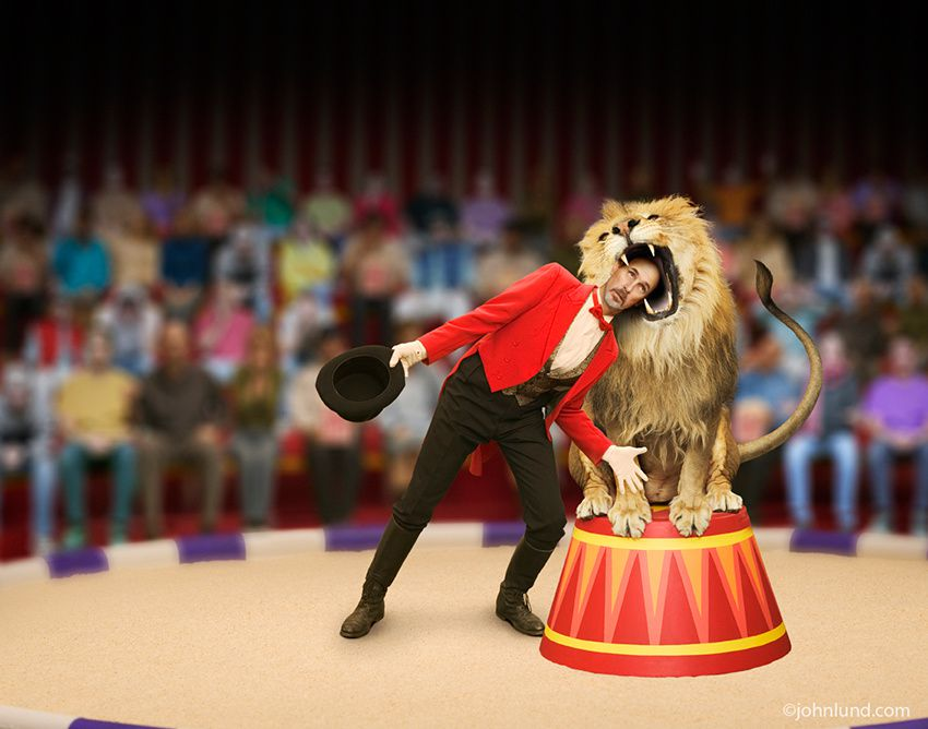 Here is a Lion Tamer! What a brave man he is!