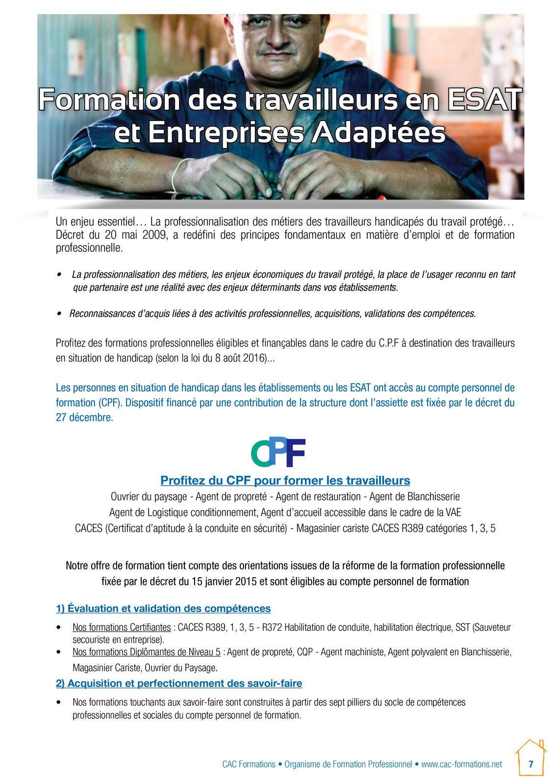 Certifications professionnelles,CPF obtenus cette année pour les ouvriers d'ESAT,avec le CAC FORMATIONS