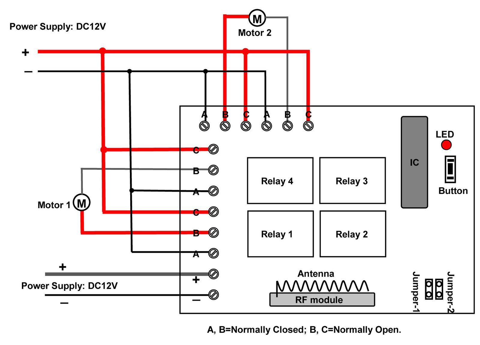 4 Ch Dc 12v Rf Remote Control For 2 Sliding Glass Doors Circuit