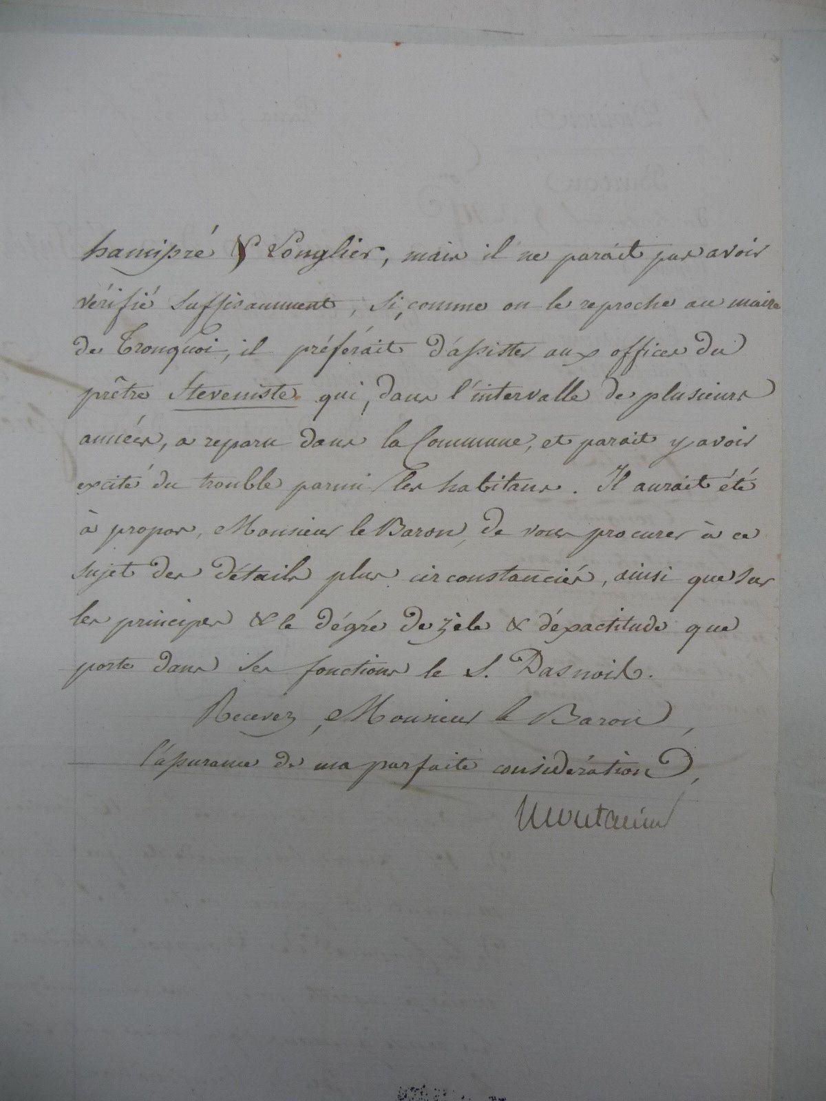 1810; Affaire du Sieur Dasnoy, maire de Tronquoy