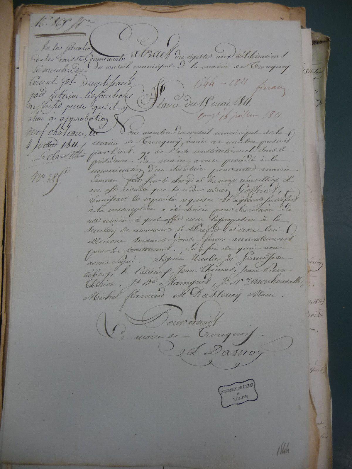 Tronquoy; personnel de l'autorité locale an XI-1816