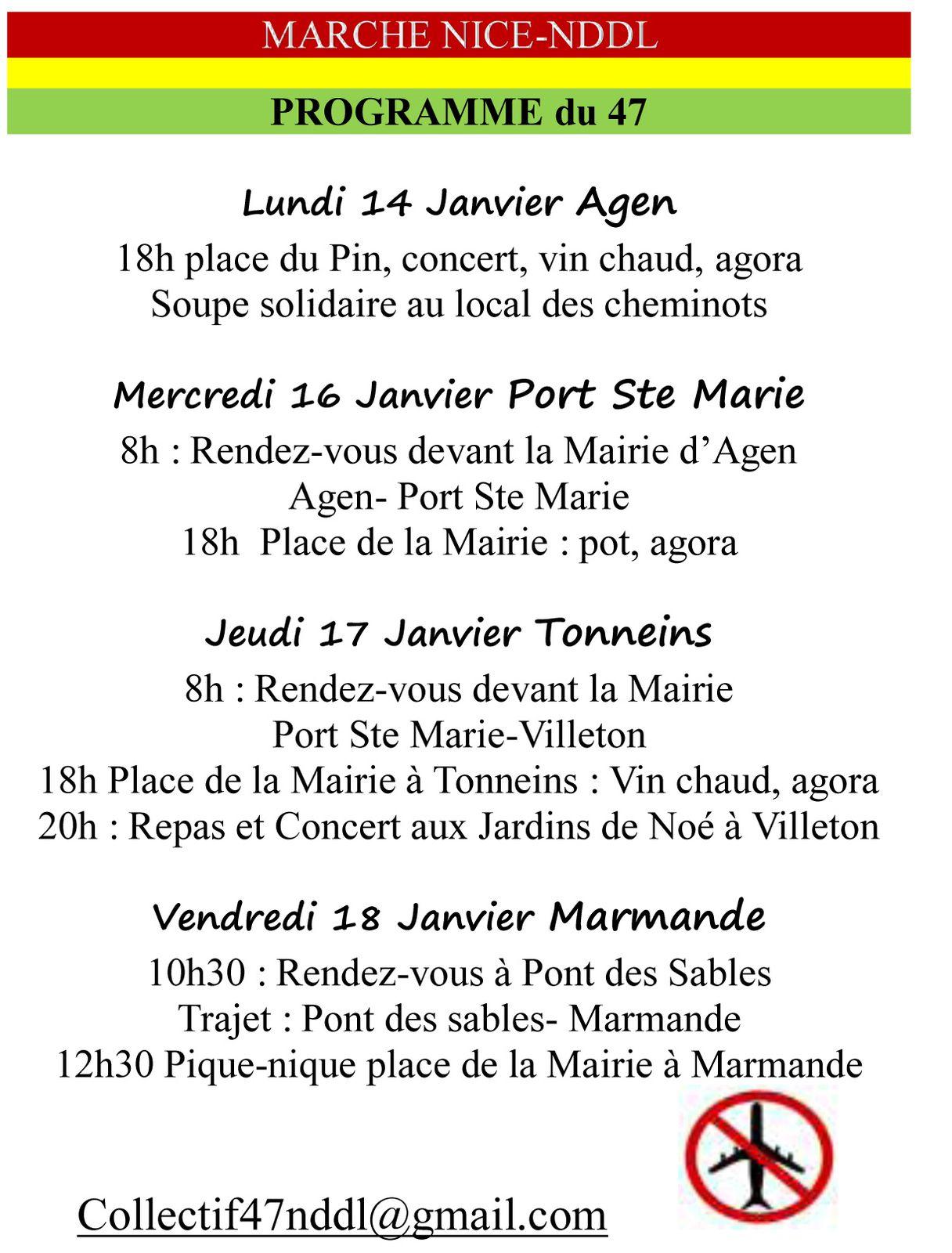 Programme du 14 au 18 janvier : Agen - Port sainte Marie - Tonneins - Marmande