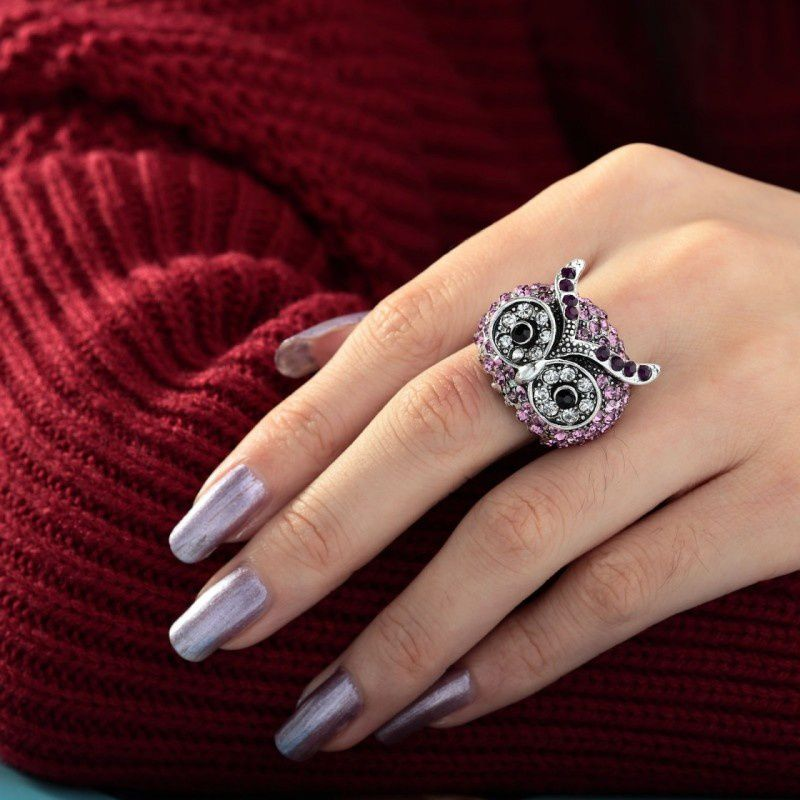 Owl Ring Stretch Rhinestone Owl Dome Rings - owl-fashion-jewelry.overblog.com from owl-fashion-jewelry.overblog.com