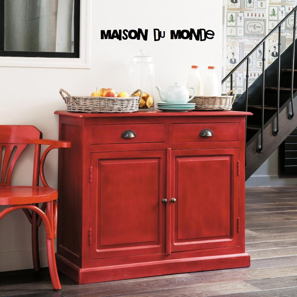 buffet rouge gascogne maison du monde atelier meuble indus. Black Bedroom Furniture Sets. Home Design Ideas