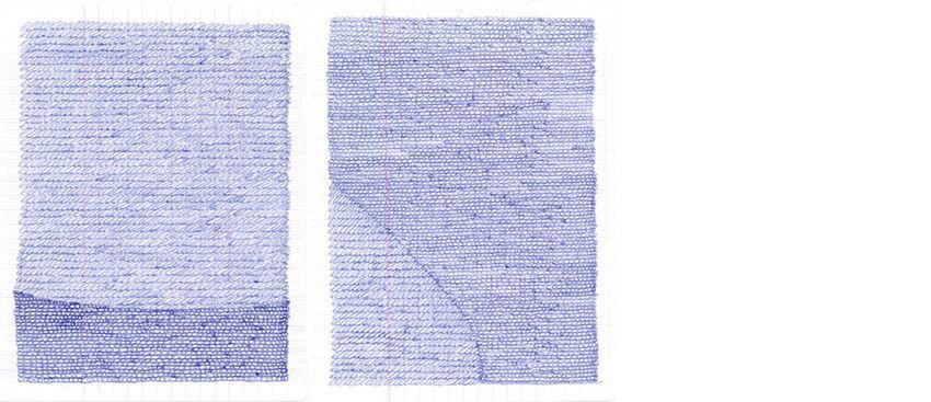 Pages de Brouillon n°12 - encre sur papier / 17 X 21 cm chacunes
