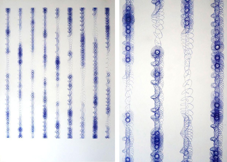 Spirographie 9 lignes verticales - 2014 - stylo à bille sur papier - 70 X 100 cm