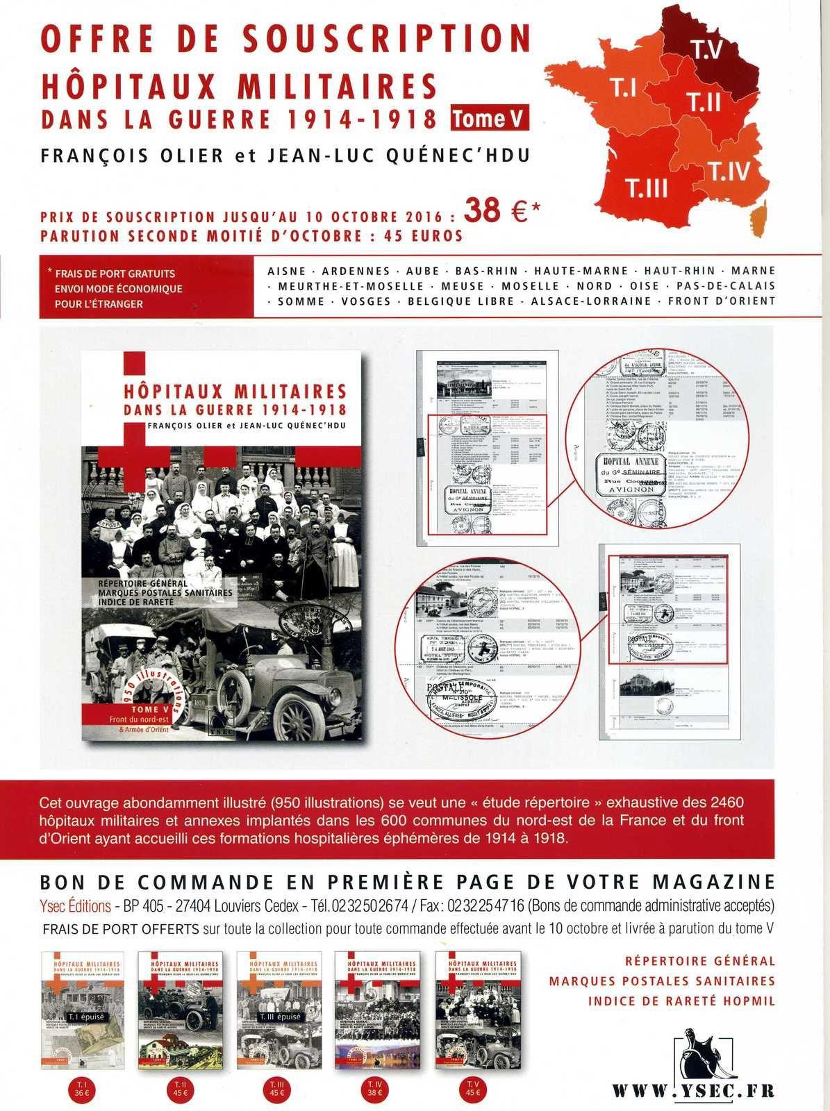 TOME 5 DES HOPITAUX MILITAIRES DANS LA GUERRE 1914-1918