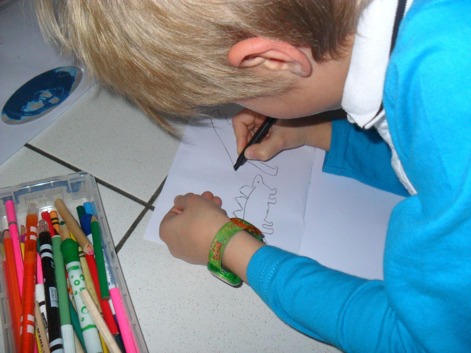 Les enfants ont reçu un petit livret de feuilles blanches. Ils pouvaient choisir un animal et le dessiner, soit en s'aidant de la frise, soit en s'aidant des cartes de nomenclatures.