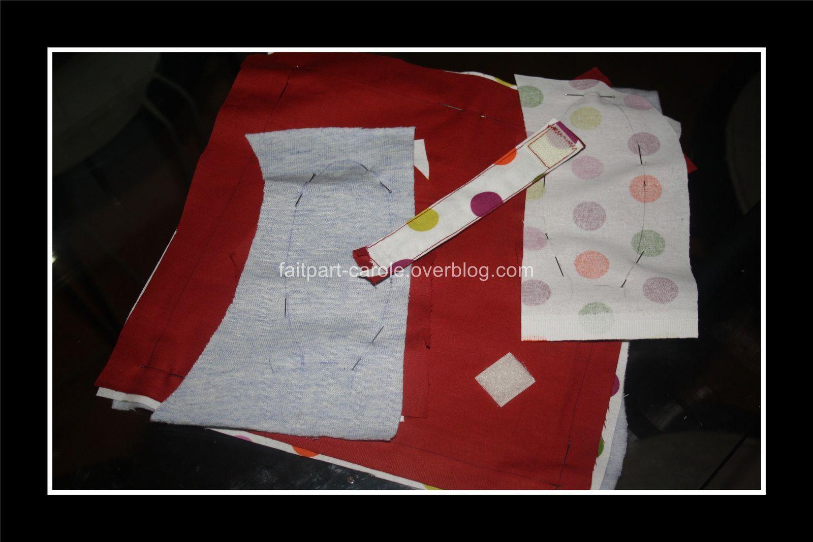 Doudou tissu carré lapin rouge