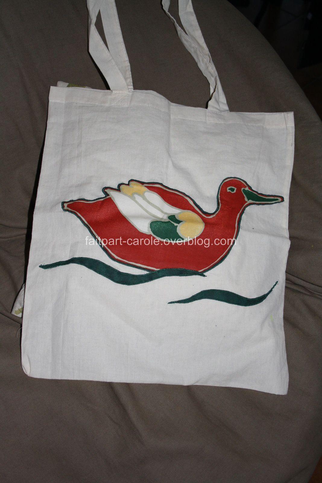 sac de courses tissu canard