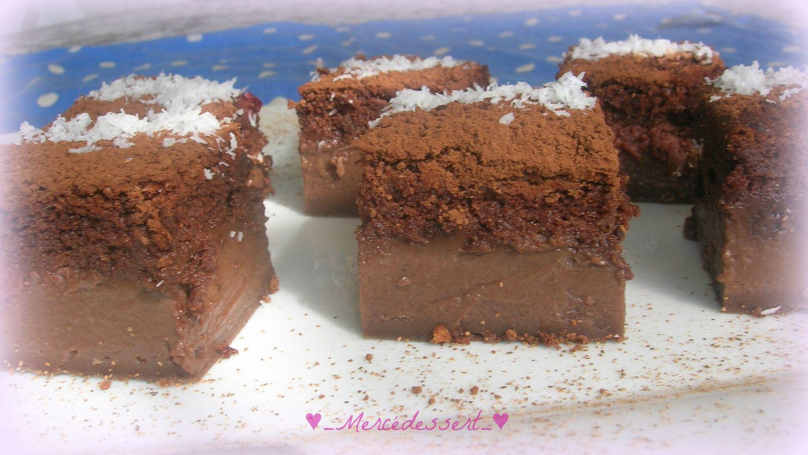Gâteau magique chocolat framboise