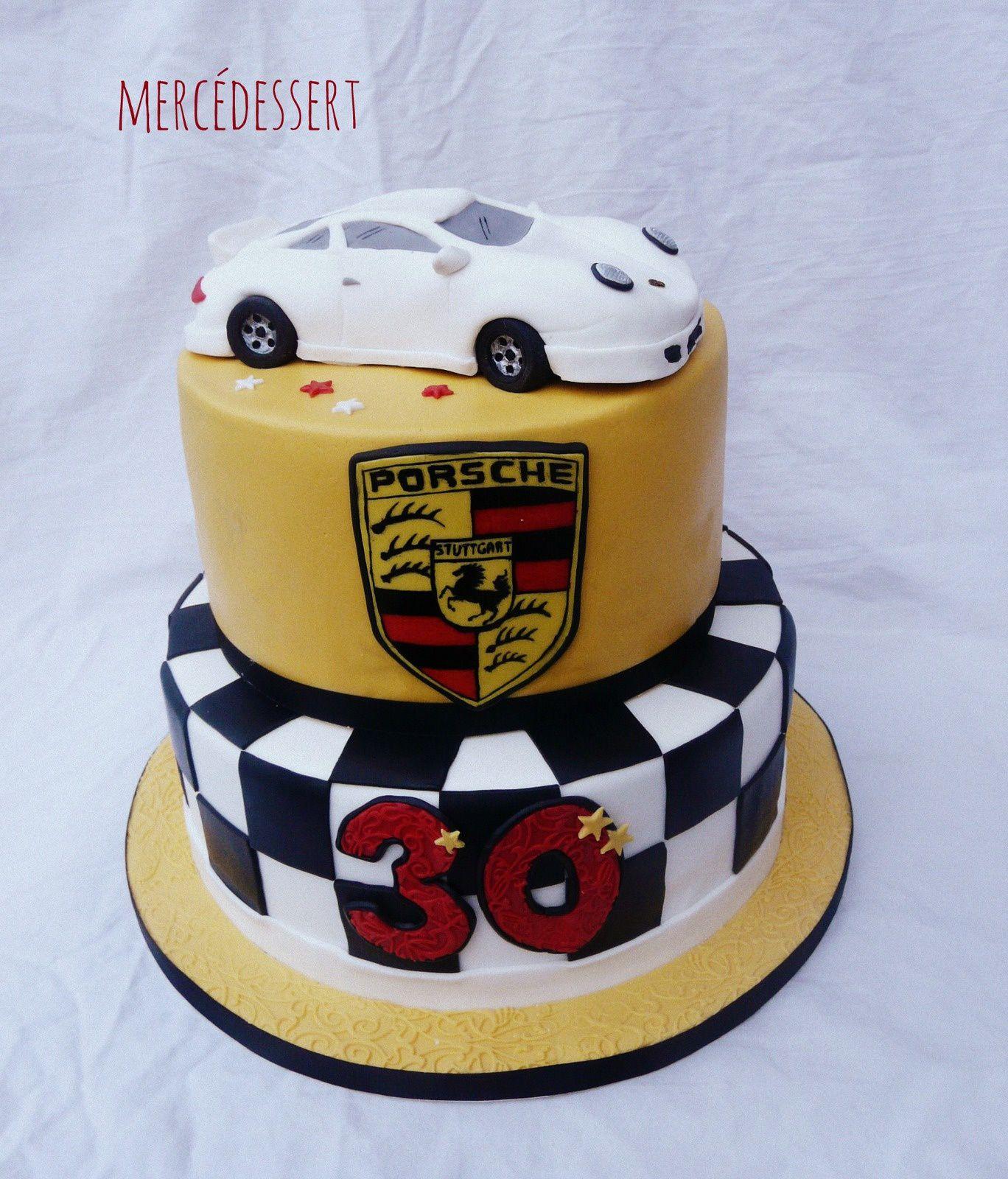 Gâteau Porsche 911 Sport Classic - Génoise chocolat et ganache chocolat noir - 50 personnes (29 novembre 2014)