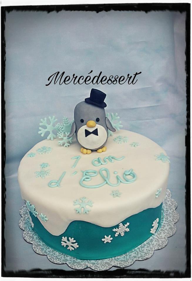 Gâteau pingoin - Génoise vanille et ganache chocolat marron