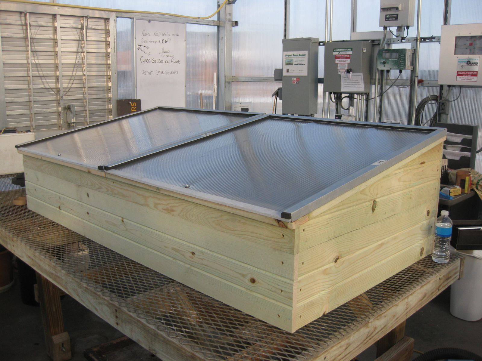 The completed cold frame will be installed outside the greenhouse at Lowe Park and used by Linn County Master Gardeners.