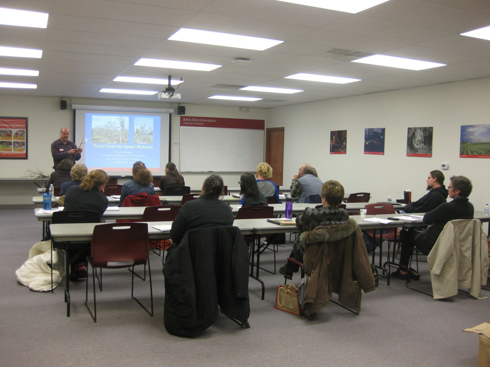 Patrick O'Malley, ISU Extension Commercial Horticulture Specialist, discusses fruit crops for the Upper Midwest and shares some examples with class participants.