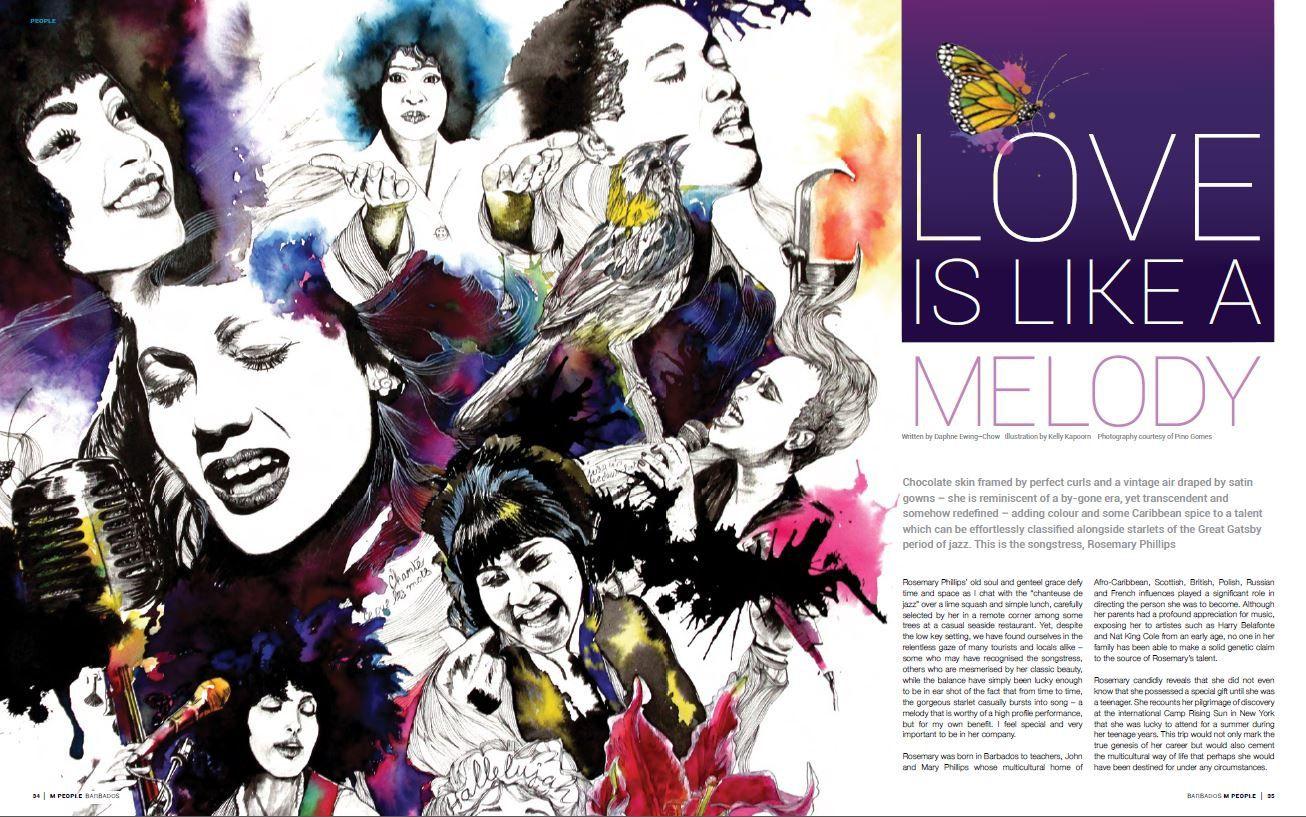 Kelly Kapoorn illustration M People Magazine for Rosemary Phillips