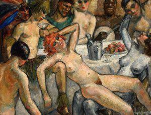 """""""Orgie"""", le tableau de Chrysis qui a choisi ce pseudonyme en s'inspirant du livre de Pierre Louÿs """"Aphrodite""""."""