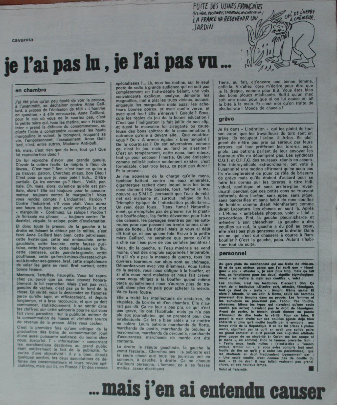 La page de Cavanna dans Charlie Hebdo. Humour vache, dérision et lucidité.