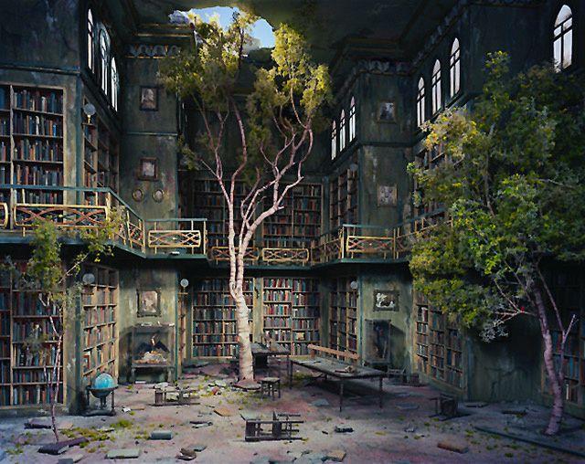 """""""Ce fut alors comme si les rayonnages autour de moi basculaient de toute leur hauteur, avec le poids de tous les livres accumulés, de toutes les pages écrites depuis l'invention du premier livre."""