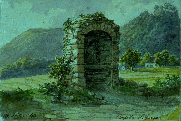 Oratoire de Saint-Gorgon, Aquarelle de Karth,1840