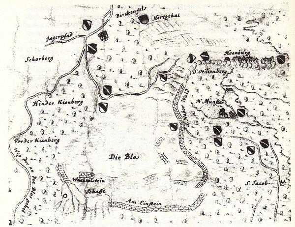 La carte du Mont Sainte Odile de Johann Peter Müller