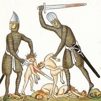 Les armes des chevaliers dans l' Hortus Deliciarum