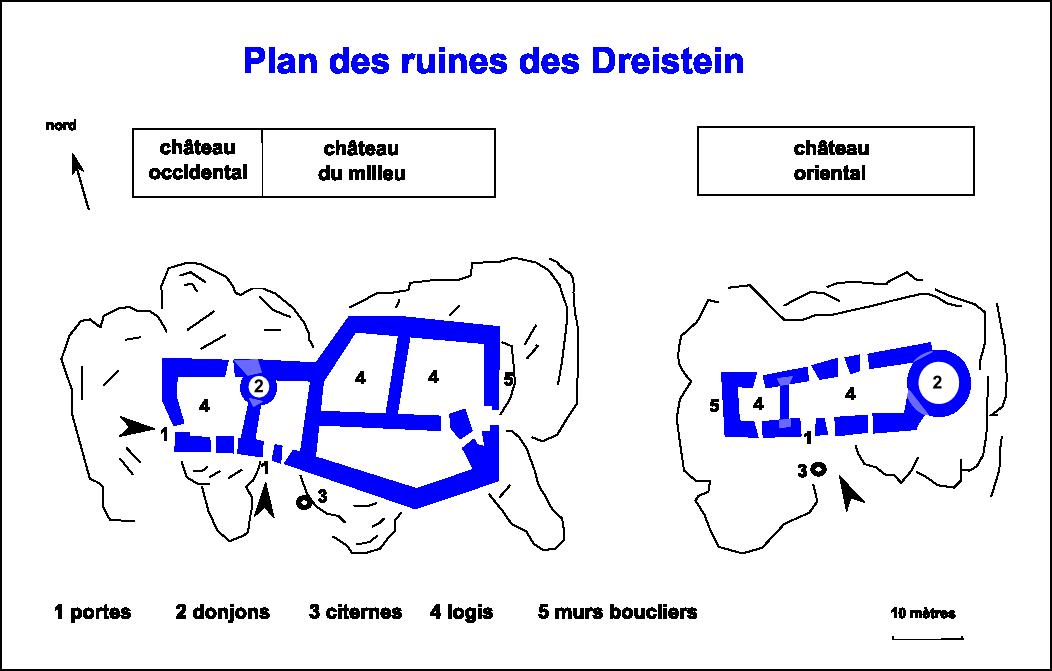Images anciennes des châteaux de Dreistein