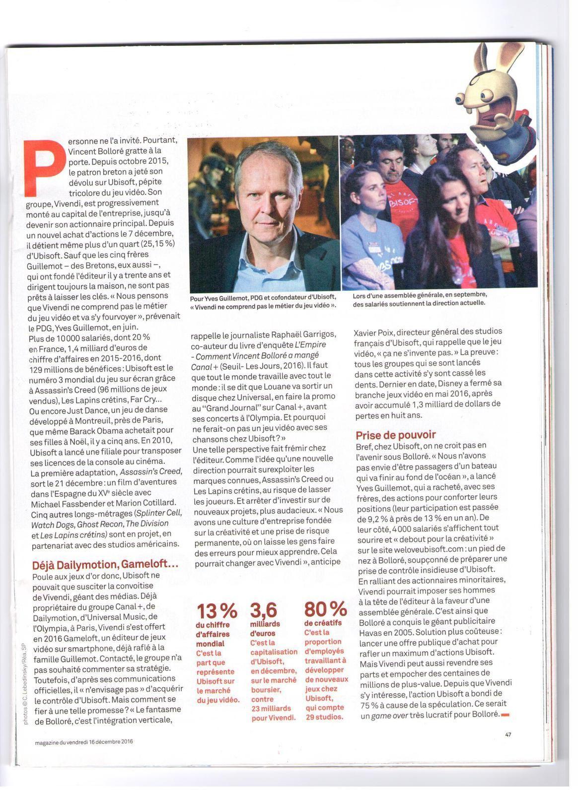 Vus et lus dans Télérama Sortit n° 3 496 du 11 janvier 2017, Le Parisien Eco du 23 janvier 2017, et le Parisien Magazine du 16 décembre 2016