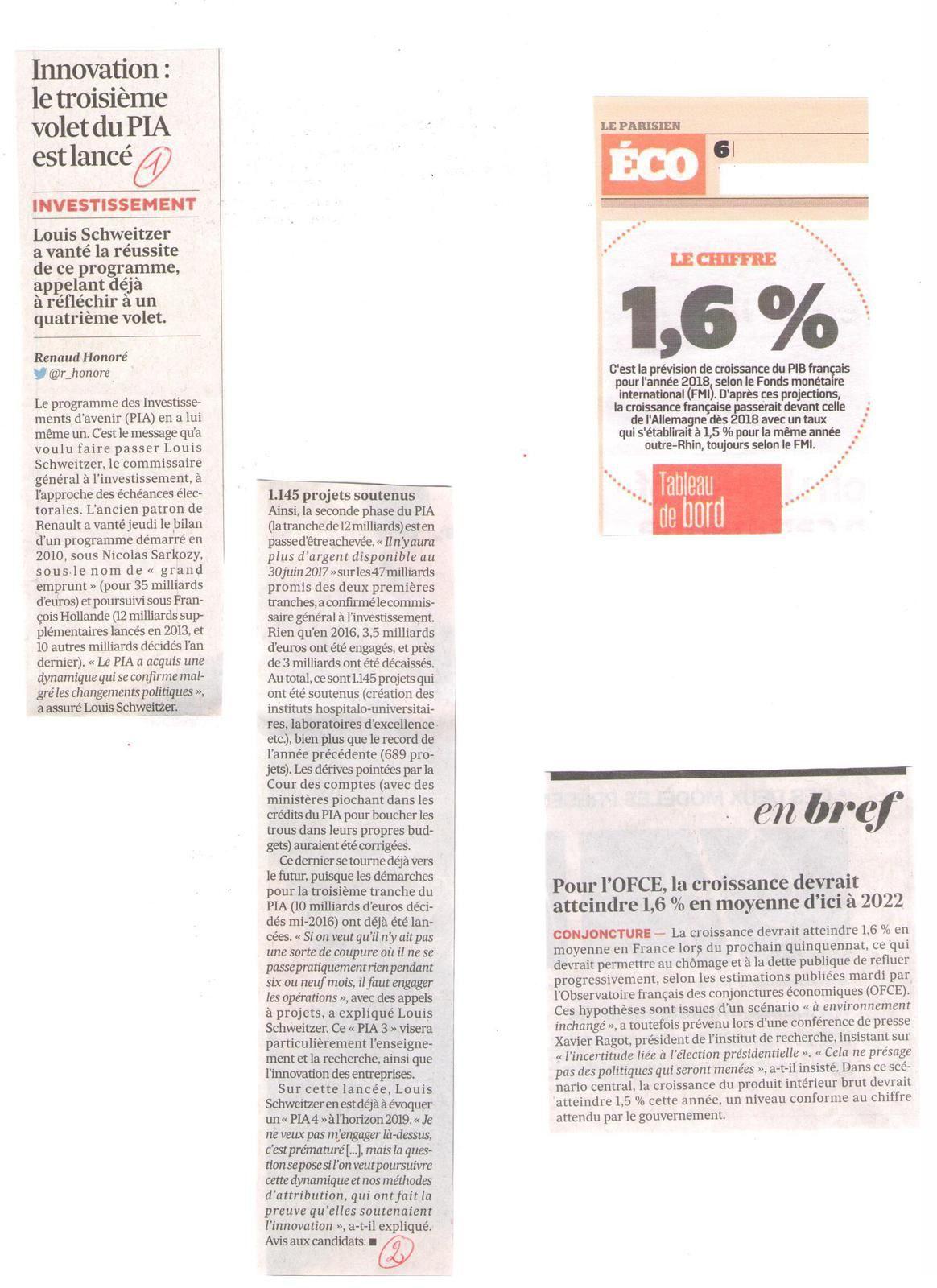Vus et lus dans Les Echos du 07 février 2017, du 03, 07, 14, 29 mars 2017, du 04 avril 2017, le Parisien Eco du 23 janvier 2017 et Le Parisien Magazine du 06 janvier 2017, l'Express n° 3429 du 22 mars 2017, et Ca M'intéresse de mars 2017
