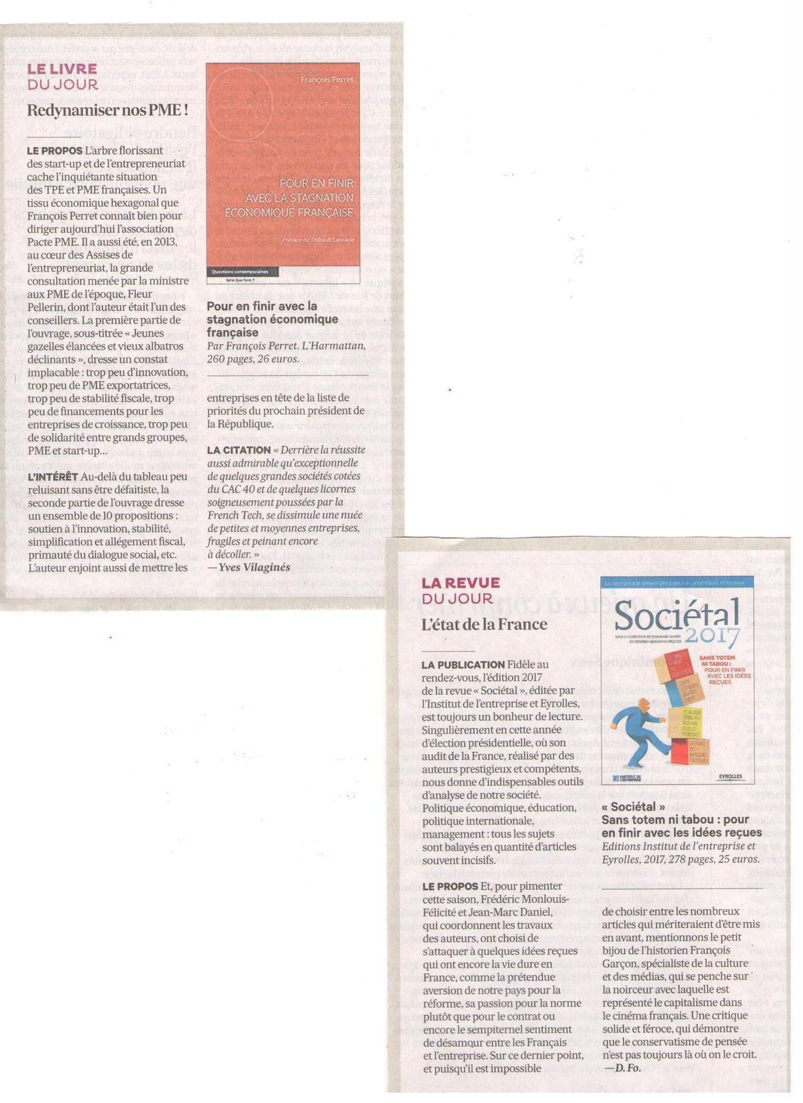 Vus et lus dans Les Echos Weekend, Mag'in France n° 6, et Le Parisien Magazine du 06 janvier 2017