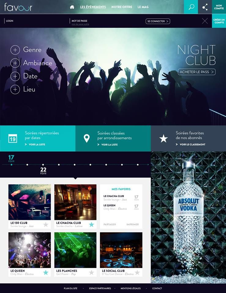 """Site favour - Section """"Night Club"""" - page log in"""