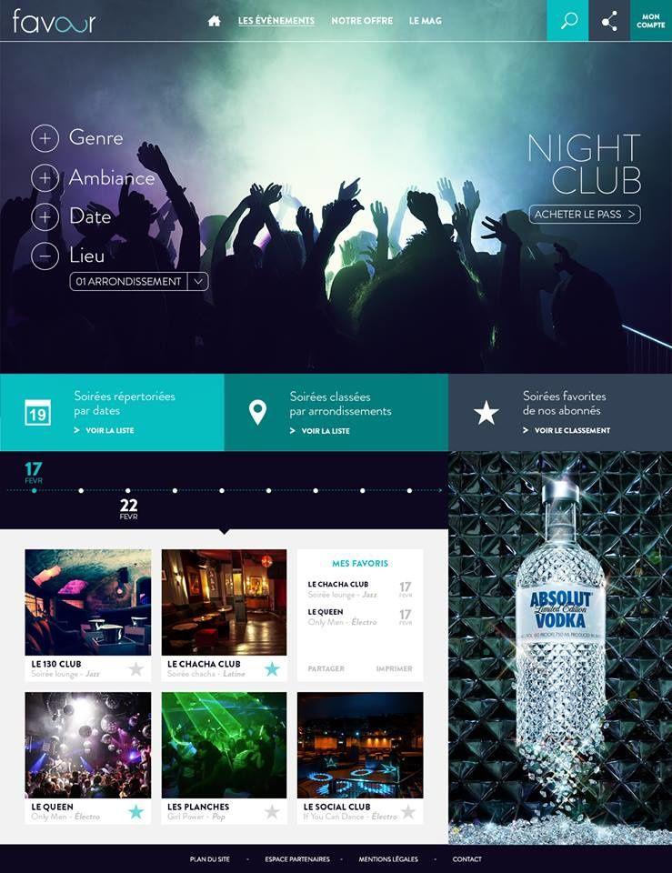 """Site favour - Section """"Night Club"""" - page Sélection par zone géographique"""