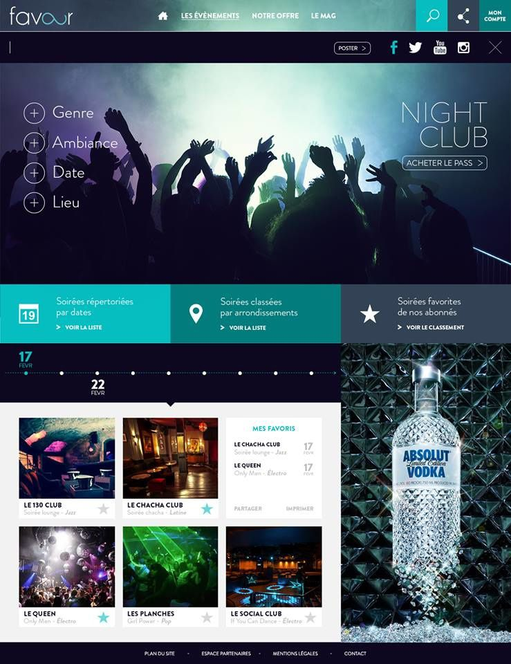 """Site favour - Section """"Night Club"""" - page Share on social media"""