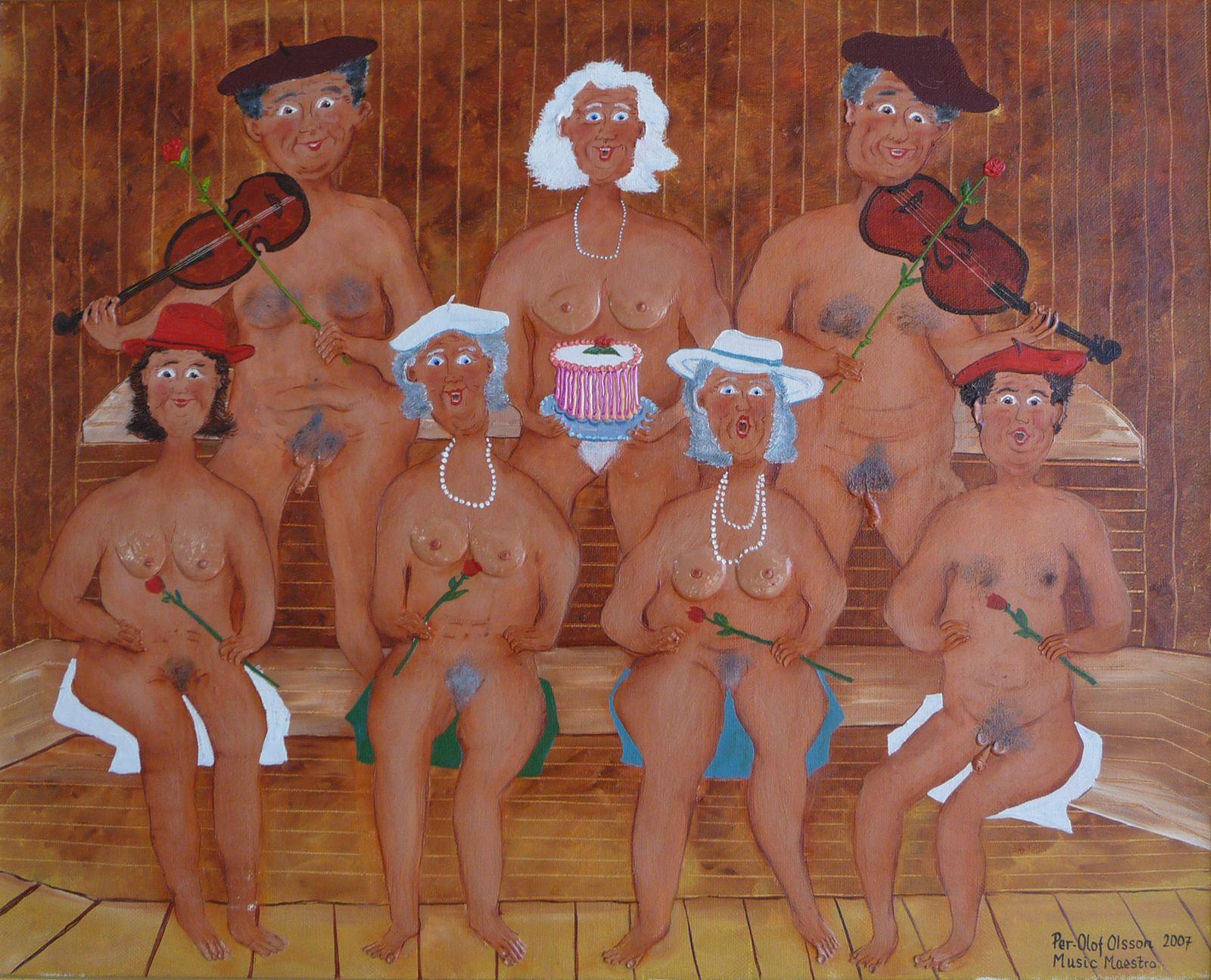 """Opera sauna"", huile sur toile, 55 x 46"