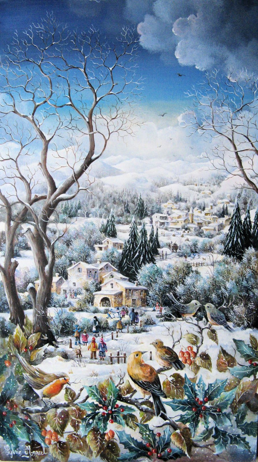 """""""Plumages d'hiver"""", mixte sur toile, 30 x 54"""