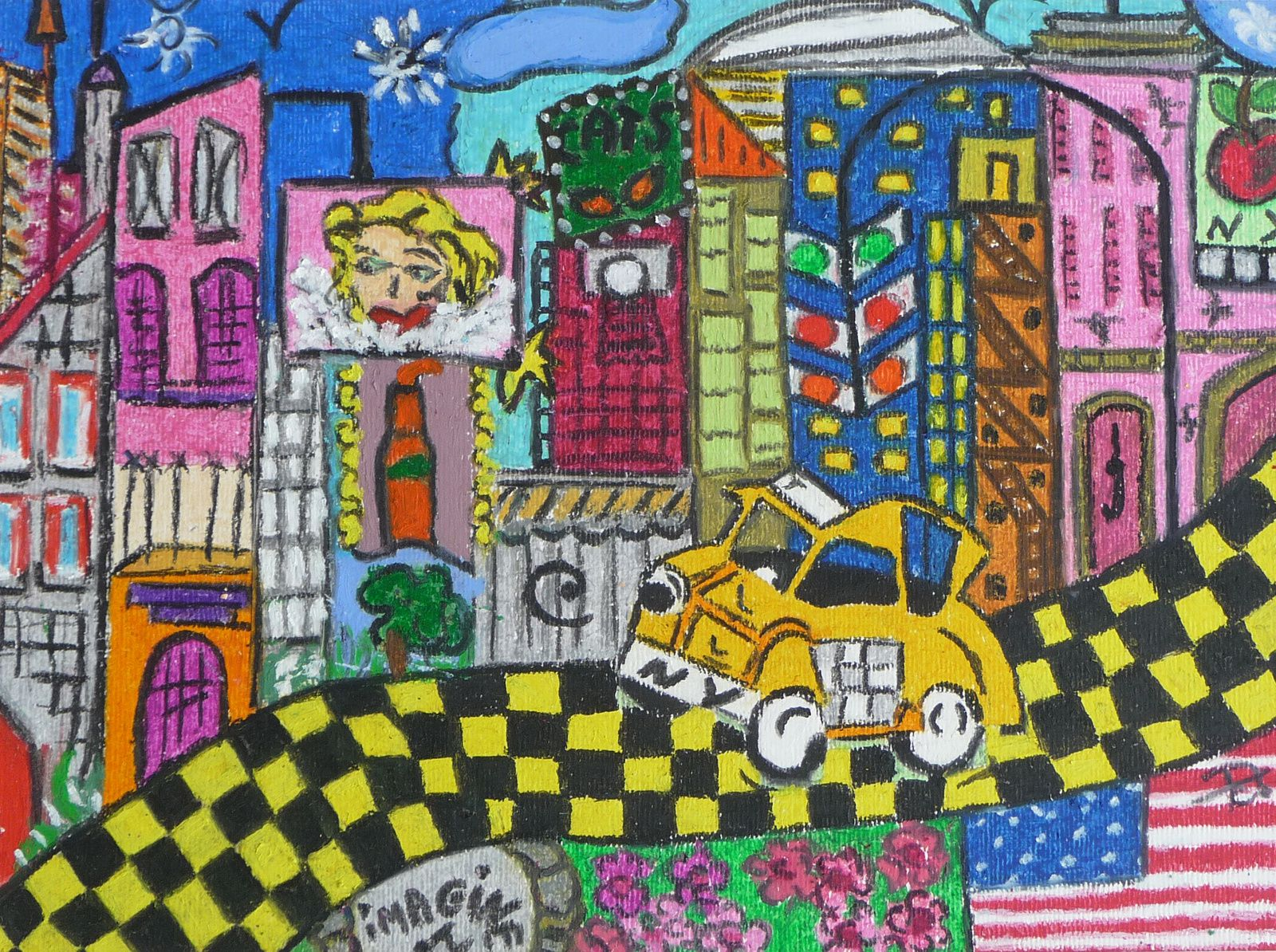 """New York"", pastel à l'huile, 50 x 40"