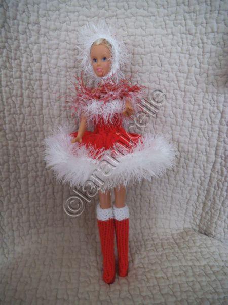 tuto gratuit barbie : bottes Noël laine et cuir et bonnet mère Noël