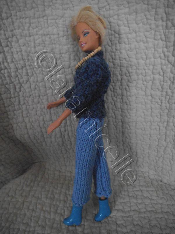 tuto gratuit barbie : pull d'hiver col cheminée