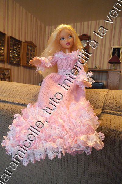 tuto gratuit barbie : robe longue tricot -dentelle