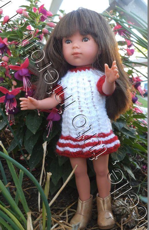 tuto gratuit poupée: robe bicolore à mailles croisées