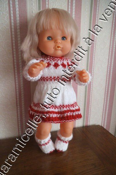 tuto gratuit poupée: pull jacquard ou robe, trois versions