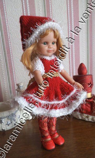 tuto gratuit poupée : robe fille du Père Noël
