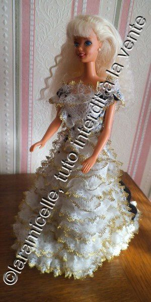 tuto gratuit Barbie : robe de princesse nuit et or