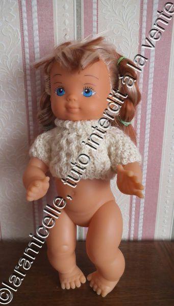 tuto gratuit poupée: pull irlandais à col roulé