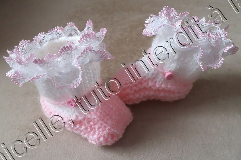 tuto gratuit layette : chaussons taille 1 mois