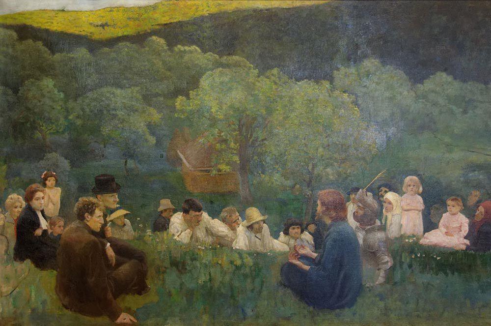 Károly Ferenczy (1862–1917) : le Sermon sur la Montagne. 1896. Huile sur toile, 135 x 203 cm. Budapest, Galerie Nationale.