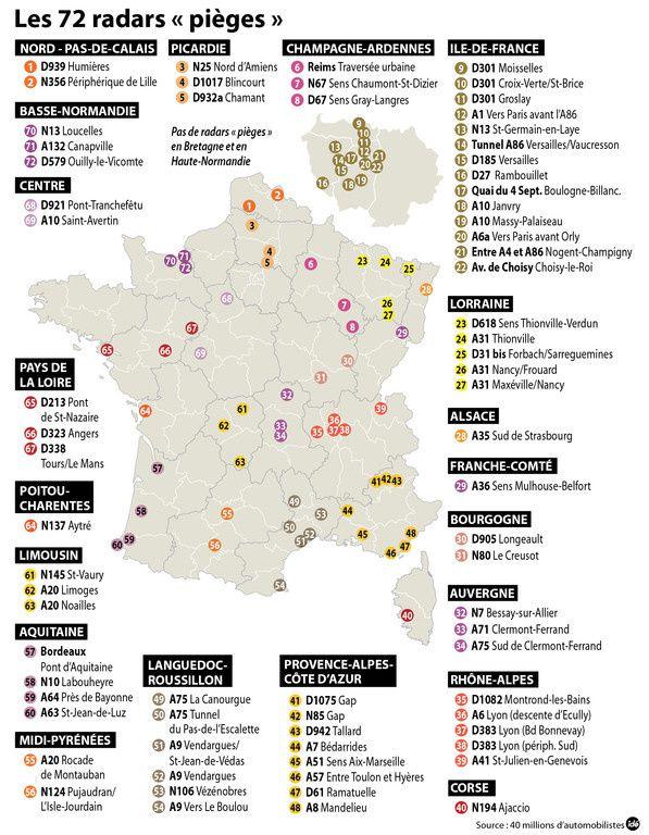Carte Radar Corse.La Carte Des 72 Radars Pieges Franceauto Actu Actualite