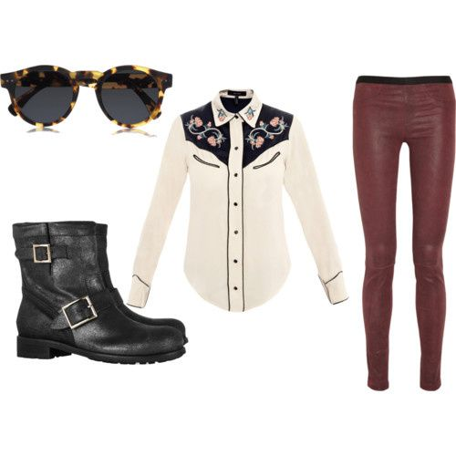 sunglasses Illesteva, Shirt Isabel Marant , Leather pant Helumt Lang , shoes Jimmy choo